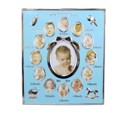 Pearhead My First Year Monthly Baby Boy Photo Silver Metal Frame