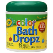 Crayola Fragrance Free Colour Bath Dropz Water Colouring Tablets 60 ea- Pack of 2