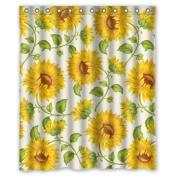 """150cm (width)x 72""""(length)Beautiful Yellow Sunflower Art 100% polyester shower curtain"""