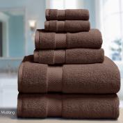 ELLE 100% Combed Cotton 6 Piece Towel Set, Bath, Hand, Fingertip Mustang