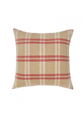 Natural Linen Cheque Decorative Feather/Down Filled Pillow, 50cm by 50cm