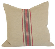 Xia Home Fashions Linen Stripe Decorative Feather/Down Filled Pillow, 50cm by 50cm , Natural