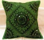 Throw Pillow Cushion Covers,Indian Cotton Mirror Cushion Cover ,Traditionl Handmeda Decorative Cushion Case,41cm x 41cm oc