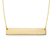 Bar Pendant Necklace .925 Sterling Silver Simple Horizontal . Pendant Gold Tone