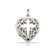 WithLoveSilver 925 Sterling Silver Filigree Cross Heart Shape Locket Pendant
