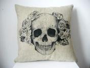 Decorbox Cotton Linen Square Decorative Fashion Throw Pillow Case Cushion Cover Black White Rose Skull 46cm