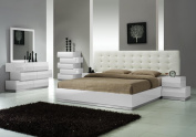 J & M Furniture Milan White Lacquer With White Leatherette Headboard Bedroom Set - King Size