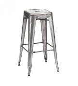 Tolix Style Stackable Clear Gunmetal Steel Barstool Set of 4
