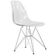 LeisureMod Cresco Moulded Eiffel Side Chair, Clear