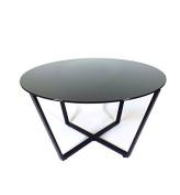 Mango Steam Metro Glass Coffee Table - Black Top / Black Base