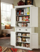 Nantucket White Distressed Finish Food Pantry, This Pantry Is Constructed of Hardwood and Engineered Woods. With Two Cabinet Doors, Adjustable Shelves and a Drawer, This Pantry Cabinet Provides Plenty of Storage Space.