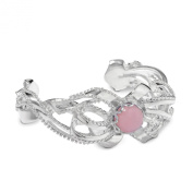 Sterling Silver Pink Chalcedony Bow Cuff Bracelet