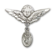 ReligiousObsession's Sterling Silver Baby Badge with St. Christopher Charm and Angel with Wings Badge Pin
