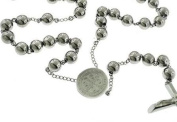 """Catholic Rosary Beads Pray Necklace Stainless Steel Saint Benedict Medal-28"""" 6MM ,24"""" 6MM OR 18"""" 4MM"""