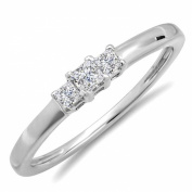 IGI CERTIFIED 0.27 Carat (ctw) 14K White Gold Princess Cut Diamond Bridal 3 Stone Engagement Ring 1/4 CT