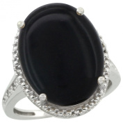 Sterling Silver Diamond Natural Black Onyx Ring Oval 18x13mm, 3/4 inch wide, sizes 5-10