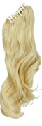 """S-noilite Fashion 18""""(46cm) Long Big Wavy Bleach Blonde Claw Ponytail Clip in Hair Extensions One Piece Handy Jaw Pony Tail Sexy Lady Style Hairpiece"""