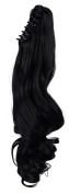 "S-noilite 18""(46cm) Long Big Wavy Natural Black Claw Ponytail Clip in Hair Extensions One Piece Handy Jaw Pony Tail Sexy Lady Style Hairpiece"