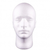 Styrofoam Male Head Stand Model Display Wig Hats Holder