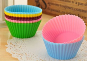 LIFECART 12pcs Reusable Silicone Cake Muffin Chocolate Cupcake Cups Mould,Colour in Random,Round Shaped