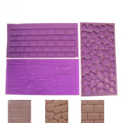 Silicone Embossed Textured Patterned Printing Moulds- Wood, Brick Wall, Cobblestone effects- for Cake Decorating, Fondant, Icing by Kurtzy TM