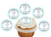 12 Large Pre Cut Blue and Grey Cross 1st Holy Communion Edible Premium Wafer Cupcake Decorations Toppers - by Kreative Cakes
