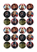 24 x Avengers Super Hero fairy cake toppers printed on icing