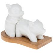 Making Bacon Bamboo Salt & Pepper Cruet Set Pigs JD 50554