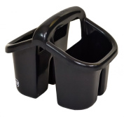 Black Plastic 4 Compartment Sink Tidy Cutlery Drainer Filter Caddy with Handle