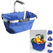 XuMarket(TM) Waterproof Foldable Eco-friendly Reusable Shopping Bag Grocery Basket Blue