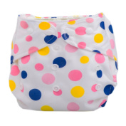 Summer Grid Baby Cloth Nappy Cover Adjustable Size Pink Dots Pattern