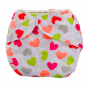 Summer Grid Baby Cloth Nappy Cover Adjustable Size Loving Heart Pattern