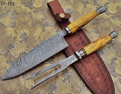 RK-CF-101 Style Damascus Steel Chef Knife - Stunning Exotic wood Handle