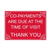 ComplianceSigns Engraved Plastic Payment Policies Sign, 7 x 5 Red