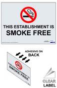 ComplianceSigns Vinyl Oklahoma Smoke Free Window Cling, 5 x 3.5 with English, 4-pack Clear