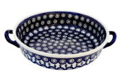 Polish Pottery Peacock Round Casserole with Handles