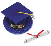Oasis Supply Graduation Cap Cake Topper with Diploma, Blue