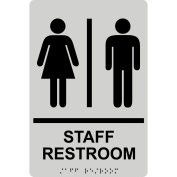 ComplianceSigns ADA Acrylic Tactile + Braille Restroom General Sign, 9 x 6 with English + Braille, Pearl Grey