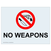 ComplianceSigns Clear Vinyl Weapons Restricted Label, 13cm x 8.9cm . with Front Adhesive, English, 4-Pack