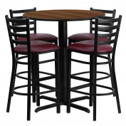 Flash Furniture 80cm Round Walnut Laminate Table Set with 4 Ladder Back Metal Barstools - Burgundy Vinyl Seat