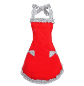 Hyzrz Hot Cute Red Cotton Womens Aprons Fashion for Girls Vintage Cooking Retro Beautiful Apron with Pockets
