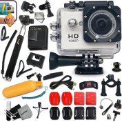 KoolCam AC200 HD 1080p Waterproof ACTION Camera / Camcorder for KIDS and Adults with a Super 140 degree Wide angle Lens KIT Includes