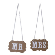 Vintage Wedding Chair Bunting Signs Photo Props MR MRS Khaki