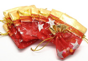 50PCS New Design Holiday Favour Red/Gold Star Jewellery Organza Drawstring Gift Bags 7X9cm