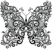 Butterfly in Black and White - Modern Counted Cross Stitch Kit