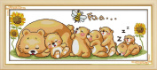 AngelGift Needlecrafts Stamped Counted Cross Stitch Set, Animal - Sleeping Bear and Bee