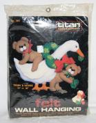 1985 TITAN Needlecraft TEDDY & GOOSE Felt Wall Hanging Kit No. 365
