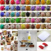 50 colour Wool Fibre Needle Felting Merino Wool Fibre (250 g) + Felting Needles Starter Kits Mat Tools