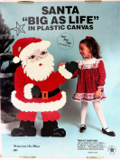 "Jumbo Size SANTA ""Big As Life"" Plastic Canvas Needlepoint Kit 100cm Inches Tall Christmas Holiday Decor"