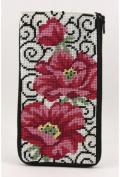 Eyeglass Case - Poppies On Scrolls - Needlepoint Kit